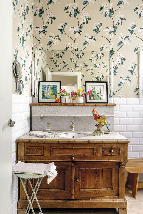 baño clásico mueble de lavabo de madera