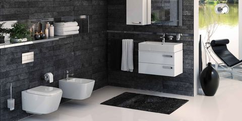 Room, Tile, Black, Bathroom, Property, Interior design, Furniture, Countertop, Sink, Floor,