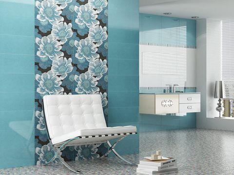 Blue, Room, Interior design, Floor, Wall, Turquoise, Teal, Aqua, Window covering, Flooring,