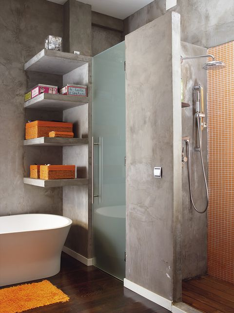 Bathroom, Room, Plumbing fixture, Shelf, Bathroom accessory, Tile, Floor, Interior design, Bidet, Material property,