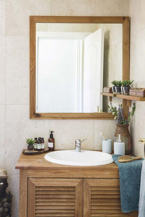 Espejos de lavabo: cuadrado de madera