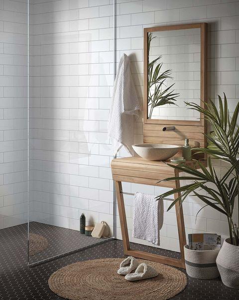 estilo japandi baño de la colección kuveni, mueble de lavabo de madera