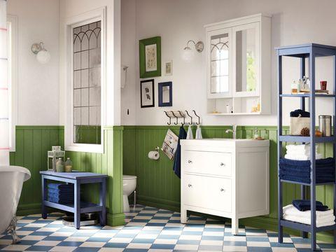 Room, Furniture, Green, Interior design, Floor, Tile, Yellow, Wall, Building, Flooring,