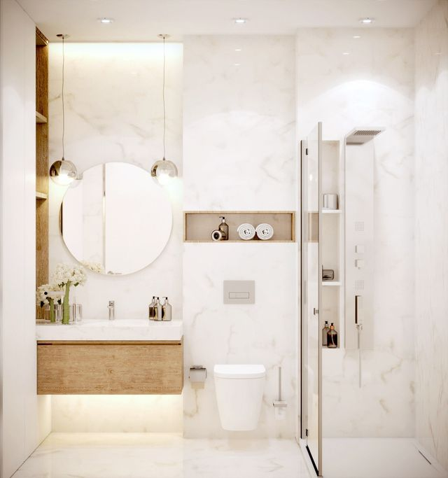 baño moderno marmol