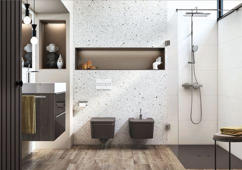 baño moderno de roca con sanitarios suspendidos