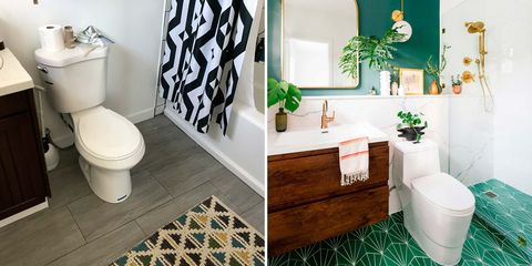baño moderno reformado antes y después