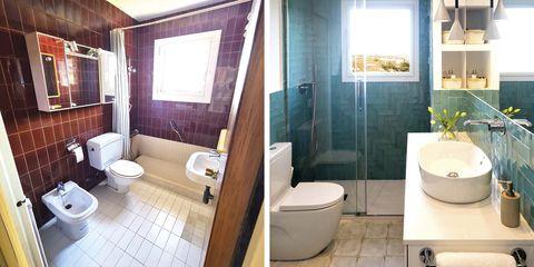 baño moderno verde y blanco reformado antes y después