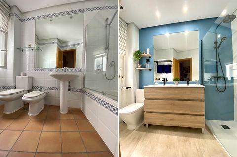 baño reformado sin obras antes y después, baño antiguo reformado con estilo actual, baño con mueble de lavabo de madera