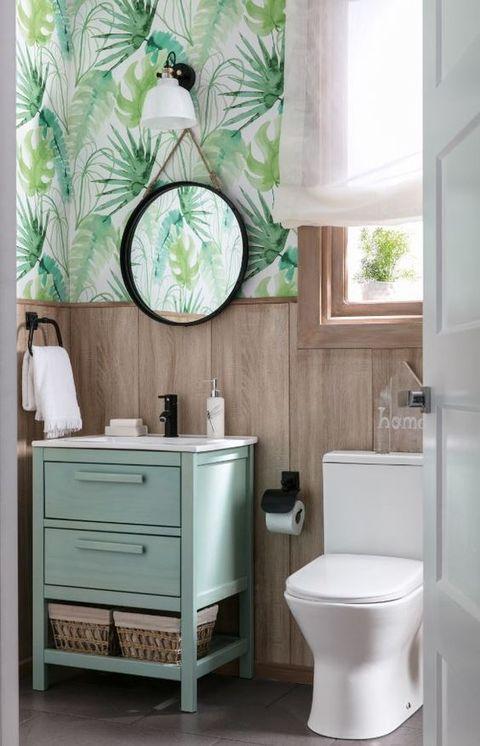 papel pintado vegetal en el baño