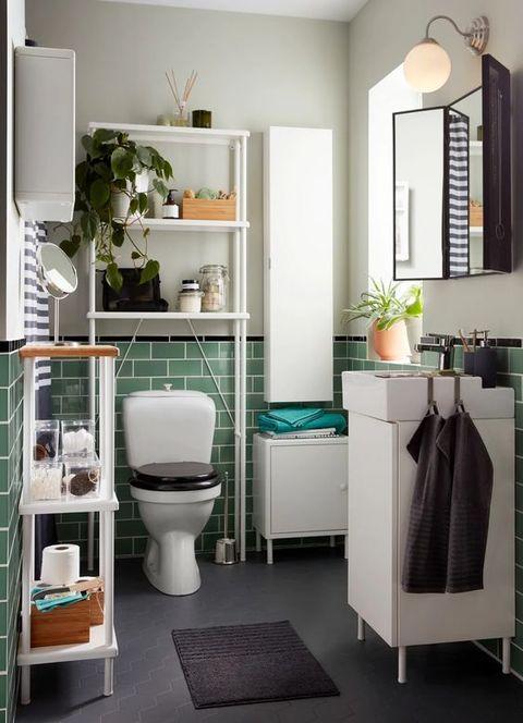 muebles de ordenación para mantener el orden en un baño mini