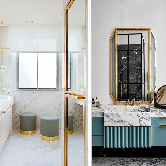 ideas para baños modernos con toques en dorado