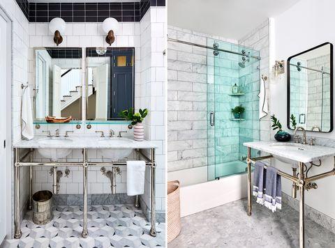 baños diseñados con estilo modernista clásico