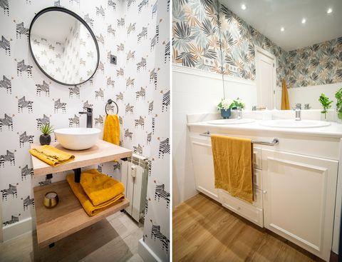 baños reformados sin obra decorados con papel pintado