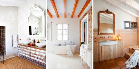 Baños de estilo rústico y moderno