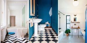 Ideas baños suelos geométricos blanco y negro
