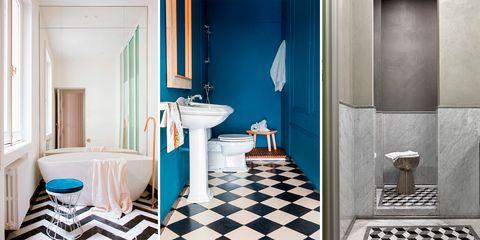 tendencias baños: suelos geometría blanco y negro