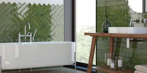 Cuartos de baño en color verde - Decorar con color