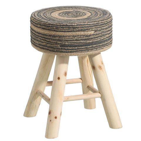 Taburete de ratán y madera