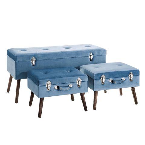 Banquetas-baúl forradas en terciopelo azul