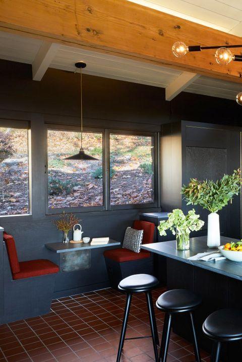 mid century modern black banquette dining nook