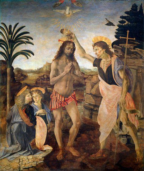 Baptism of Christ by Leonardo da Vinci and Andrea del Verrocchio