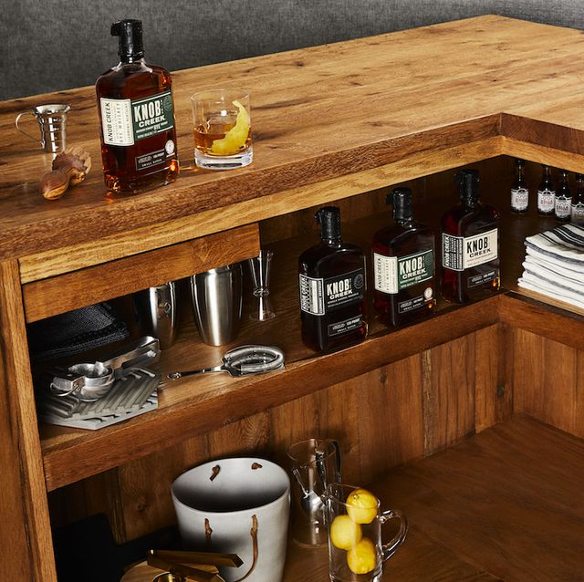 Furniture, Countertop, Shelf, Cabinetry, Room, Interior design, Shelving, Kitchen, Wood, Table,