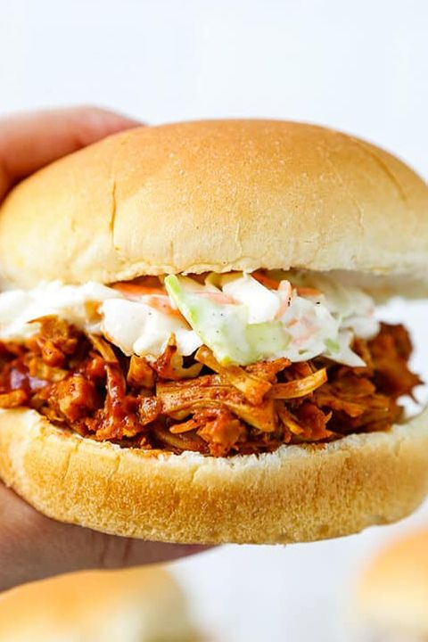 sandwich with pulled jackfruit and coleslaw