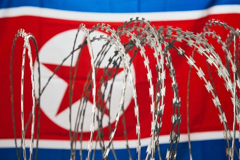 Barbed wire and North Korean national flag DPRK