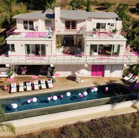 Property, House, Mansion, Home, Building, Pink, Architecture, Real estate, Residential area, Villa,