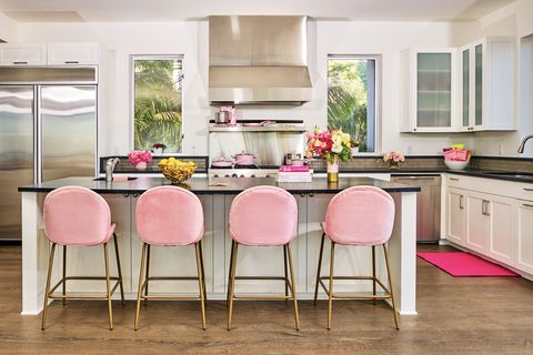 Furniture, Countertop, Room, Kitchen, Pink, Property, Interior design, Dining room, Cabinetry, Table,