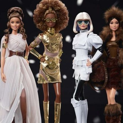 barbie star wars tipo c3po y chewbacca