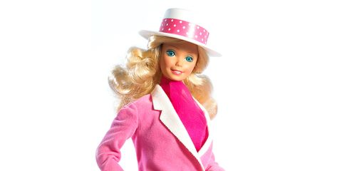 Doll, Barbie, Pink, Toy, Blond, Costume hat, Costume, Headgear, Costume accessory, Hat,
