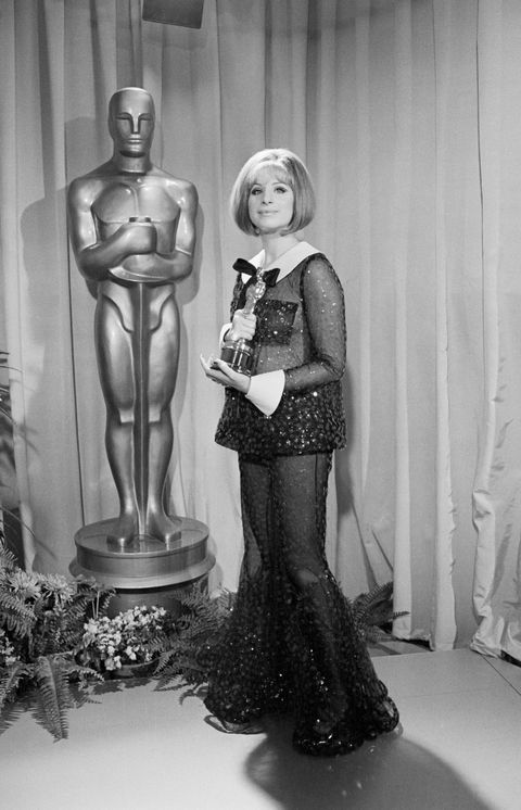 Barbra Streisand with an Oscar