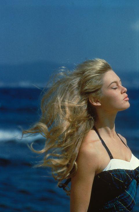 Hair, Blond, Blue, Water, Beauty, Hairstyle, Long hair, Sea, Photo shoot, Summer,