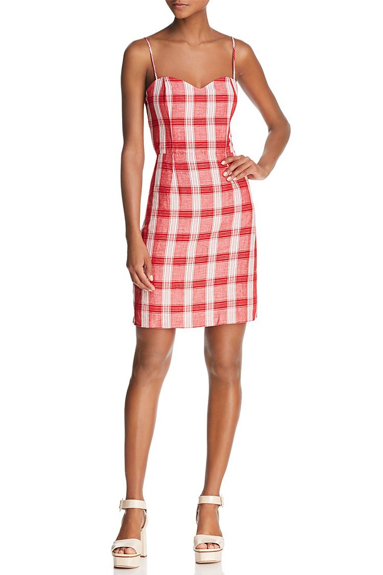 bardot red gingham dress