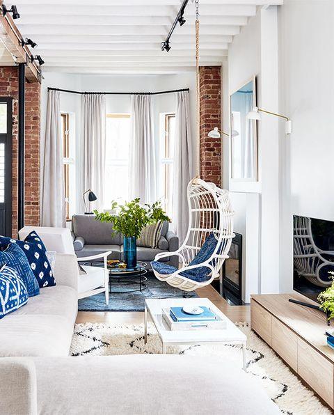 Living room, Room, Furniture, Blue, Interior design, Property, Building, Home, House, Ceiling,