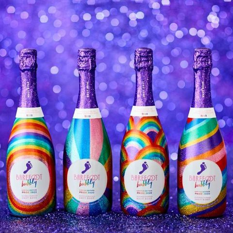 barefoot wine's 2020 brut rosé bubbly bottles with limited edition pride packaging