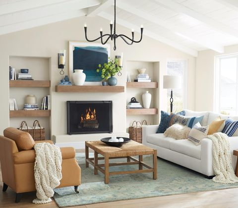 living room with wood, blue and brown accents