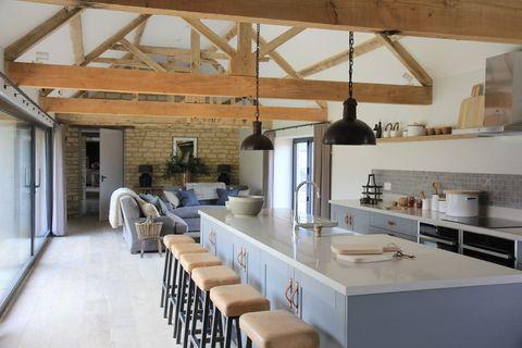 Room, Interior design, Property, Floor, Ceiling, Beam, Real estate, Countertop, Kitchen, Glass,