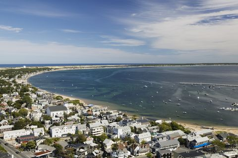 town view with curve of cape cod from pilgrim monument
