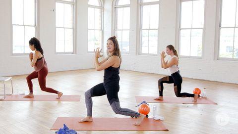 Physical fitness, Yoga, Pilates, Aerobics, Exercise, Sports, Individual sports, Lunge, Leg, Choreography,