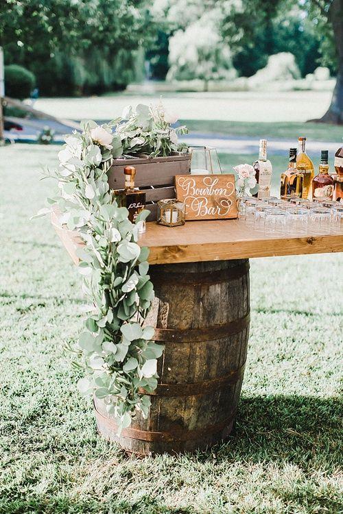 barrel outdoor bar rustic wedding