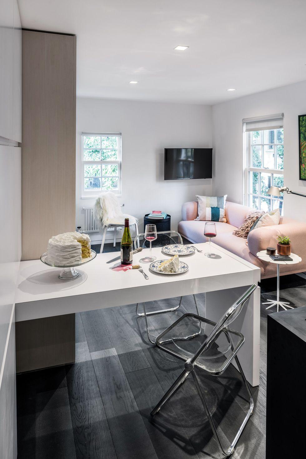 小户型粉色沙发客厅