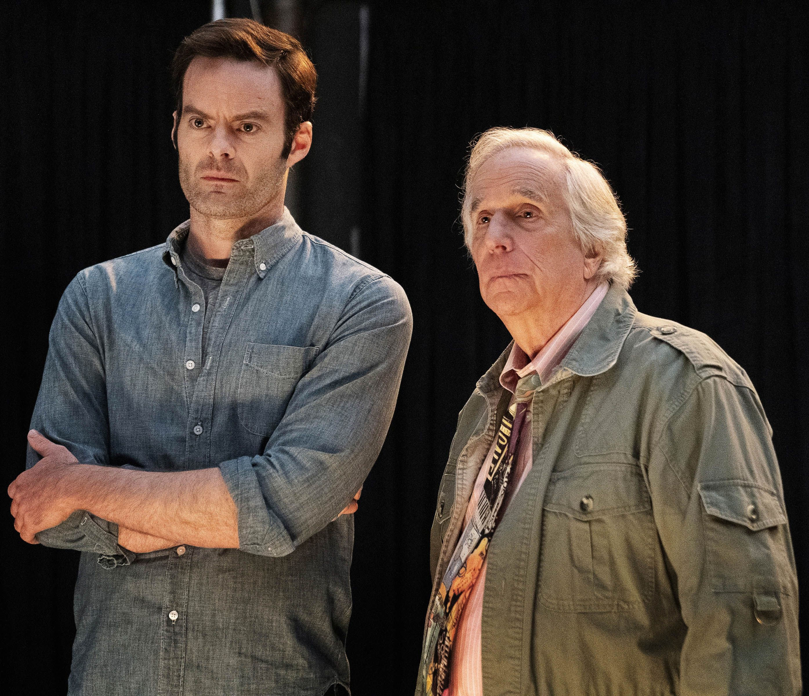 Bill Hader and Henry Winkler on the set of Barry .