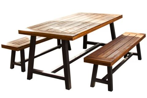 Furniture, Table, Picnic table, Outdoor furniture, Bench, Outdoor table, Outdoor bench, Wood, Coffee table, Rectangle,