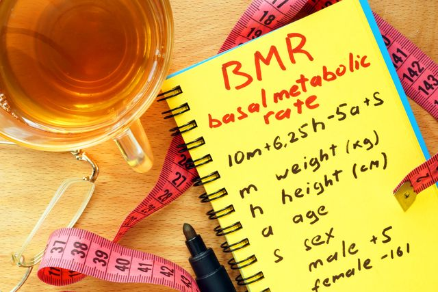 bmr basal metabolic rate formula in a notepad