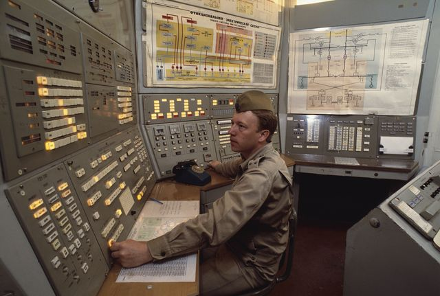 control room at nuclear missile base, outside of moscow photo by robert walliscorbis via getty images