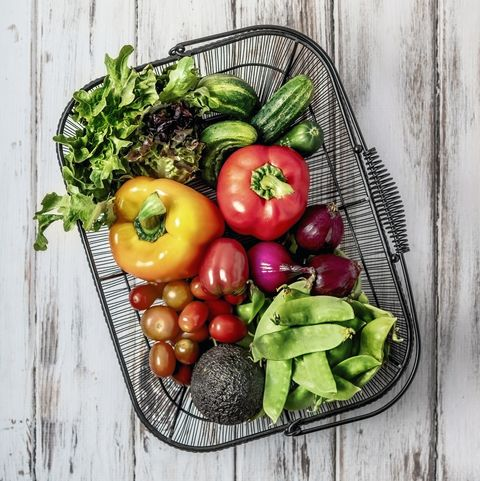a basket of fresh fruits and vegetables on white background