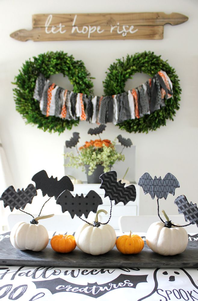halloween centerpieces flying bat pumpkins