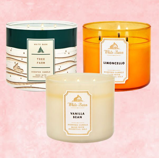 tree farm, vanilla bean, and limoncello candles with pink background